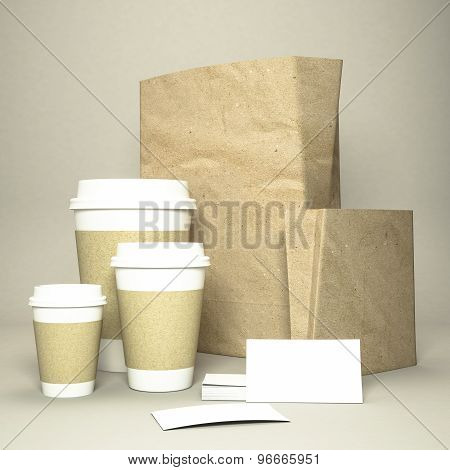 Coffee Cup With Coffee Beans And Paper Bag