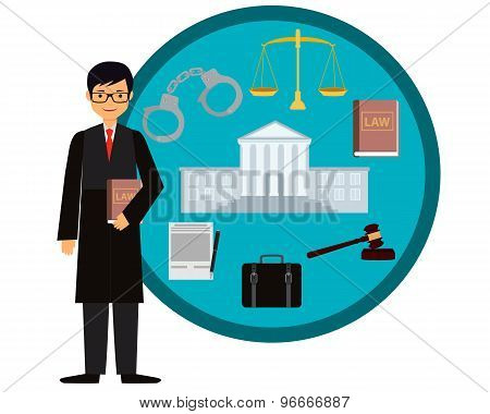 Man judge. Icon set law. Vector illustration