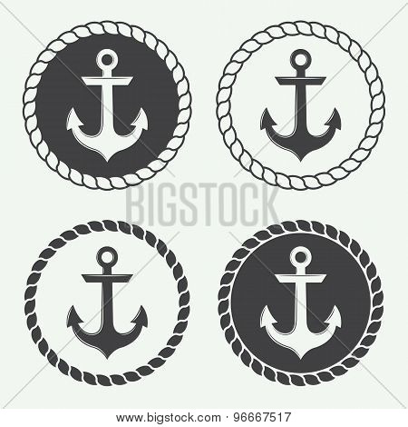 Set Of Anchors In Vintage Style.