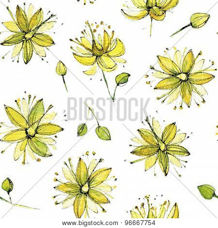 Seamless watercolor pattern of linden blossom