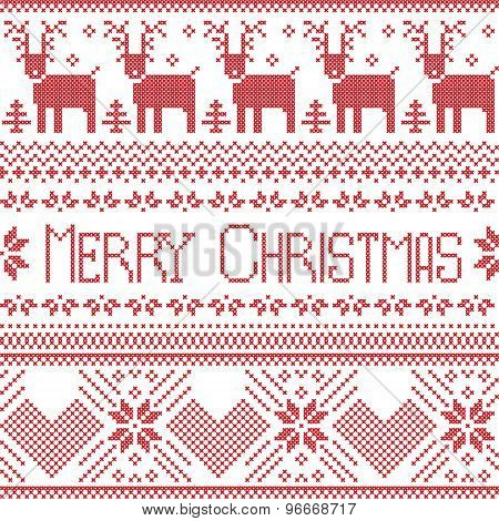 Scandinavian merry Christmas sign inspired by  Nordic pattern in cross stitch with reindeer