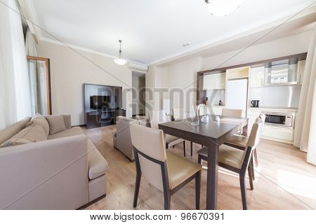 ESTOSADOK, RUSSIA - AUGUST 1,2014: drawing room of appartment in Gorky Gorod Apartments