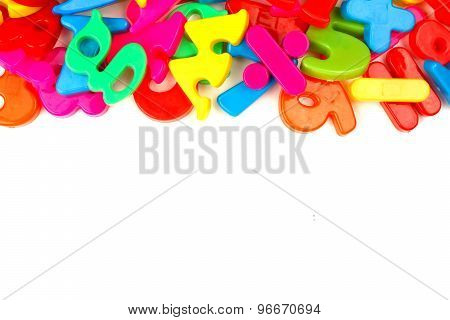 Top border of toy magnetic letters