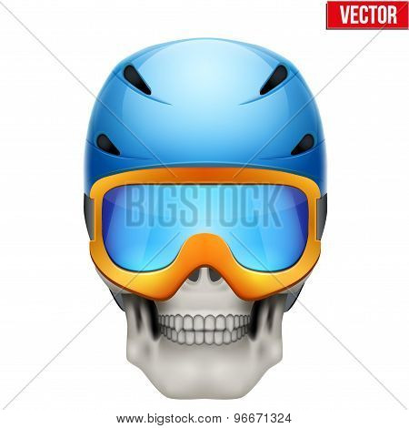 Vector Human skull with snowboard helmet.
