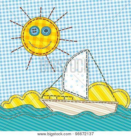 Funny Patchwork with the Sun and Boat