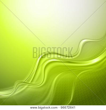 Green abstract wave light background