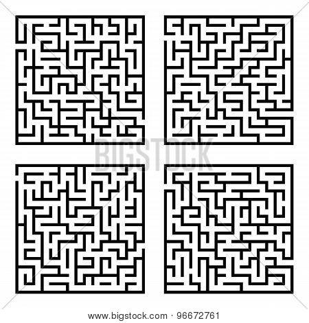 Set of mazes labyrinths