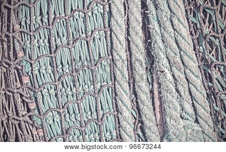 Retro Vintage Filtered Abstract Background Made Of Fishing Net.