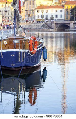 Sailboat moored on Darsena, Milan city. Color image