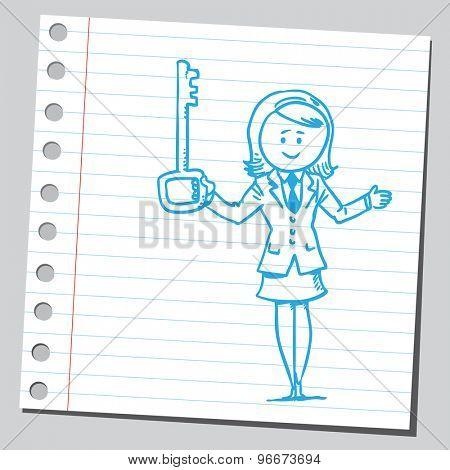 Businesswoman holding big key