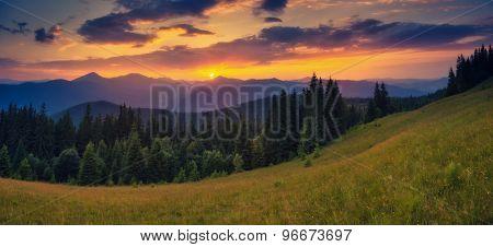 Fantastic sunny hills under morning sky. Dramatic scenery. Carpathian, Ukraine, Europe. Beauty world. Retro filtered. Instagram toning effect.