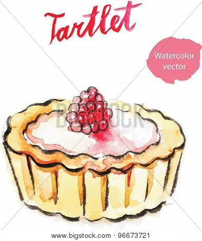 Watercolor Hand Tartlet With Raspberry