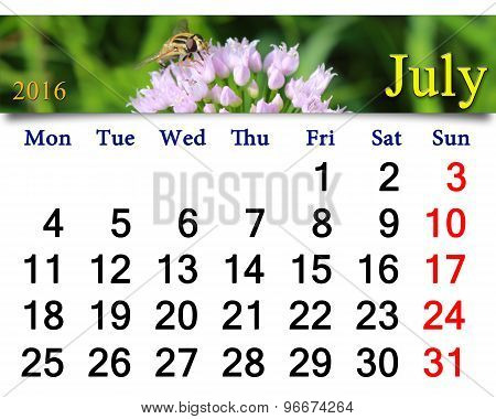 calendar for June 2016 with fly on the flower
