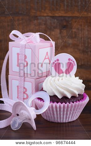 Vintage Style Baby Shower Cupcake And Gift Box