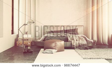 Luxury bedroom interior with grey decor and a contemporary upholstered bed flanked by long drapes with scattered throw rugs , an ottoman and lamp. 3d Rendering.
