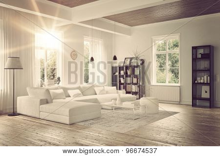 Modern loft living room interior with monochromatic white decor, a comfortable modular lounge suite and rug and accent bookcases with structural ceiling beams. 3d Rendering.