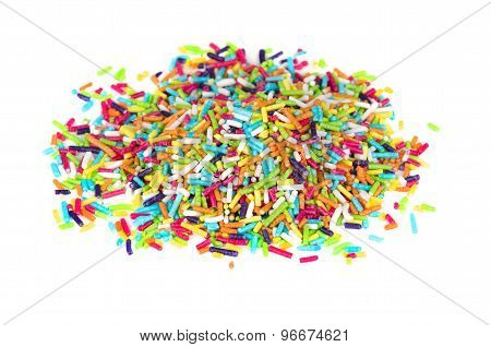 Heap Of Multicolor Sprinkles Sugar Isolated On White