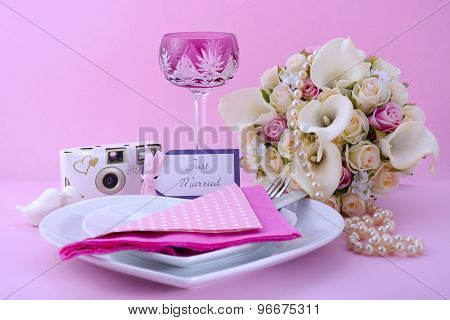 Pink Theme Wedding Table Place Setting.