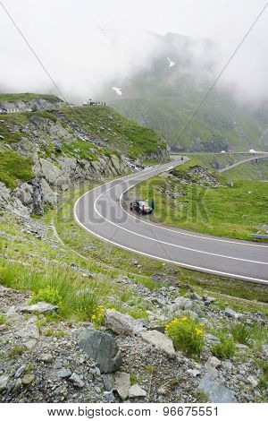 Landscape from the Fagaras mountains with Transfagarasan winding road in Romania, Europe