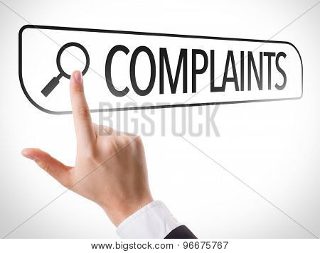 Complaints written in search bar on virtual screen