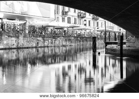 Navigli, Milan city, summer night view. Black and white photo