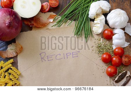 Vintage Recipe With Mediterranean Vegetables Concept.