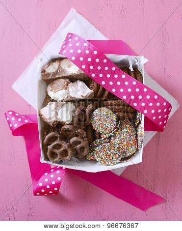 Chocolate Candy And Cookies Gift Box.