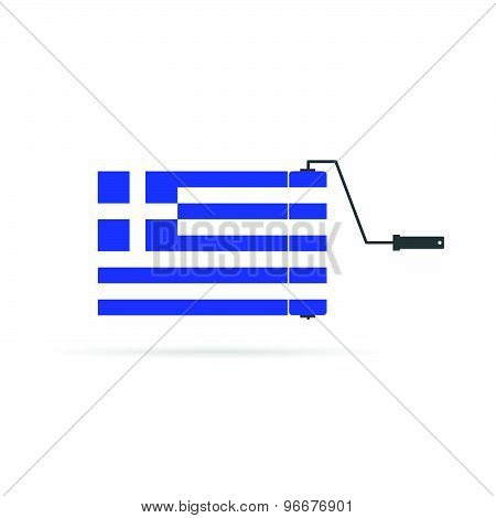 Greek Flag With Roller Color Vector