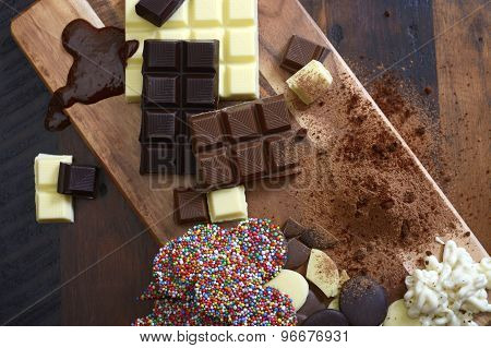 Cooking With Chocolate Concept With Raw Ingredients