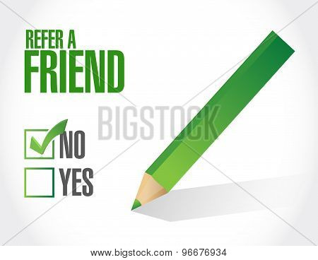 Refer A Friend Check List Sign Concept