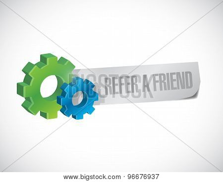 Refer A Friend Gear Sign Concept Illustration