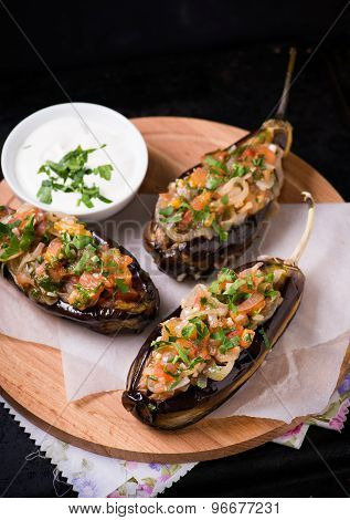 Imam Bayildi. Eggplants Stuffed With Vegetables