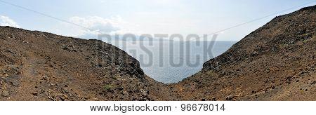 Dry Water Channel Splits A Mountain
