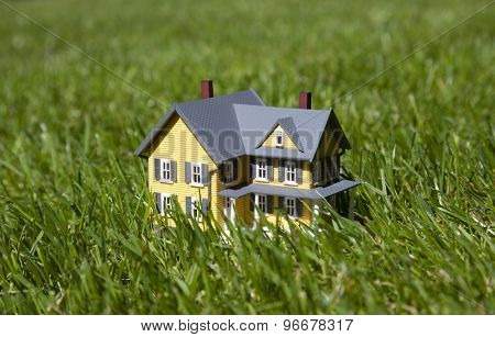 Small yellow house on green grass