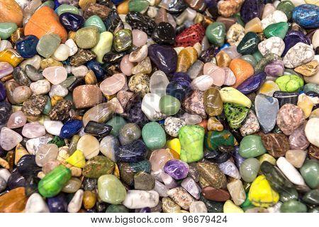 Natural Background - Pile Of Semi Precious Jewelery Stones Closeup