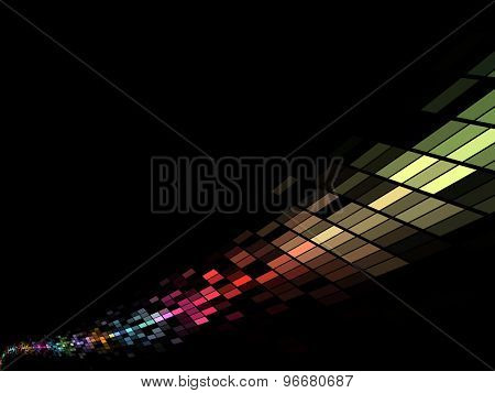 Colorful mosaic stream background with black copy space.