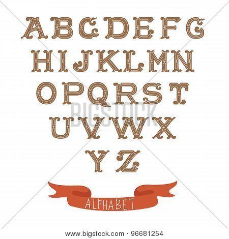 Colorful vintage alphabet on white background
