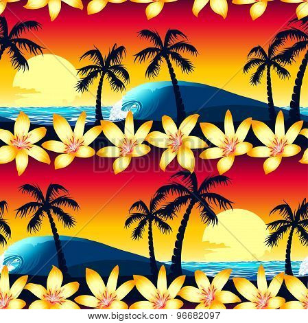Tropical Hibiscus And Palm Tree At Sunset Seamless Pattern
