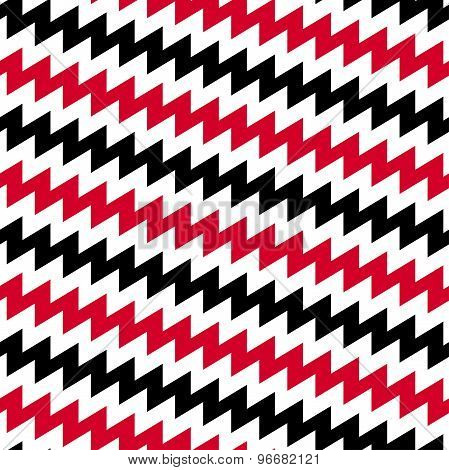 Red Black And White Diagonal Chevron Seamless Pattern