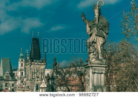 Statue of St Augustine, Prague, Czech Republic