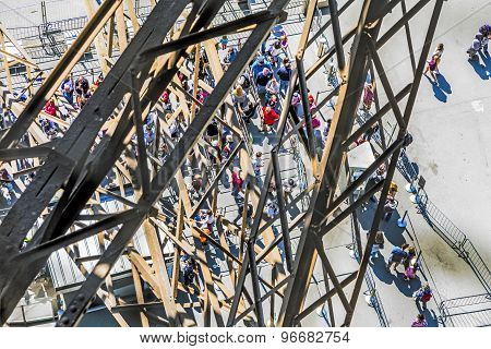 People Wait For The Lift At The Southern Tower Of The Eiffel Tower