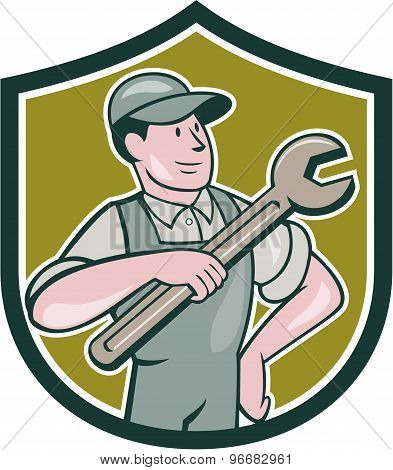 Mechanic Pointing Spanner Wrench Shield Cartoon