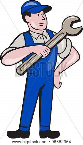 Mechanic Pointing Spanner Wrench Isolated Cartoon