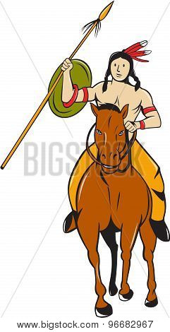 Native American Indian Brave Riding Pony Cartoon