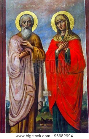Saint Barbara Saint Andrew Painting Basilica Mikhaylovsky Church Vydubytsky Monastery Kiev Ukraine