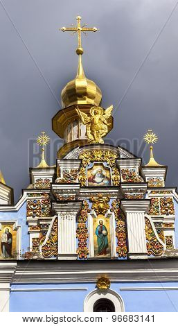 Saint Michael Monastery Cathedral Spire Facade Paintings Kiev Ukraine
