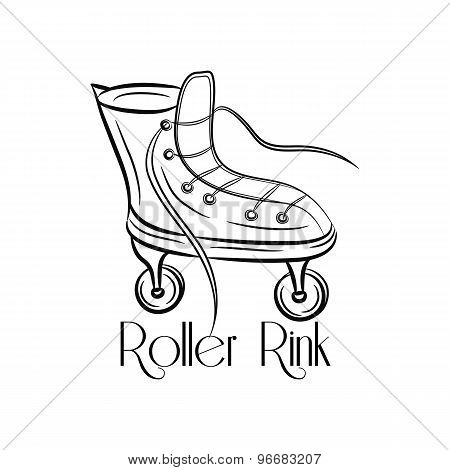 Illustration With Retro Roller Skates On A White Background