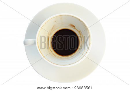 Dirty Coffee Cup With Coffee Grounds