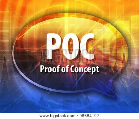 word speech bubble illustration of business acronym term POC Proof of Concept