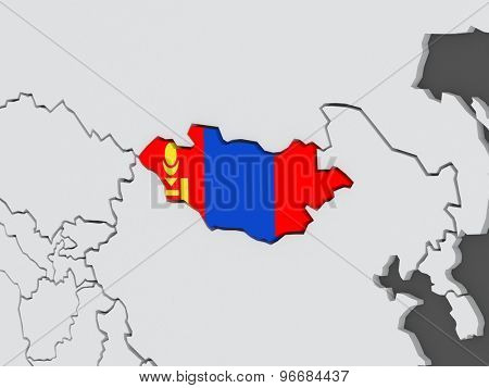 Map of worlds. Mongolia. 3d